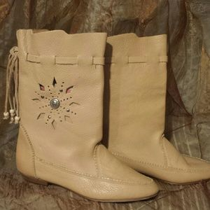 Hand Tooled USA Made Leather Boots Tan Sz 7.5